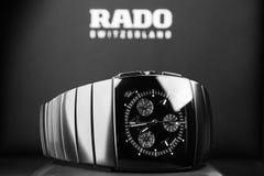 Rado Sintra Chrono, new chronograph. Saint-Petersburg, Russia - June 18, 2015: Rado Sintra Chrono, mens chronograph watch made of high-tech ceramics with Royalty Free Stock Images