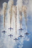 RADOM, POLEN - 23. AUGUST: Aerobatic Gruppenbildung Stockfotografie