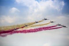 RADOM, POLEN - 23. AUGUST: Aerobatic Gruppenbildung Lizenzfreie Stockbilder