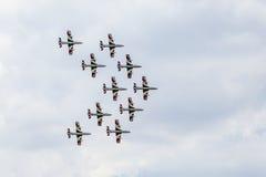 RADOM, POLEN - 23. AUGUST: Aerobatic Gruppenbildung Lizenzfreies Stockfoto