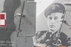 RADOM POLEN - AUGUSTI 26: Polsk F-16 gör dess show under luft Arkivfoto