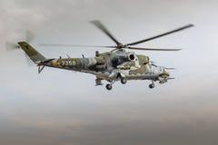 RADOM, POLOGNE - 22 AOÛT : Affichage MI-24 de derrière pendant le salon de l'aéronautique 20 Images libres de droits