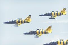 RADOM, POLOGNE - 26 AOÛT 2017 : Formation acrobatique aérienne de groupe Photos libres de droits