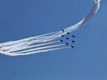 RADOM, POLONIA - 30 de agosto: Flechas rojas de la Royal Air Force (A real Imágenes de archivo libres de regalías