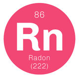Radon chemical element. Radon, chemical element. Radon is radioactive, colorless, odorless and tasteless gas. Belongs to noble gases group of the periodic table Stock Image