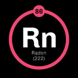 Radon chemical element. Radon, chemical element. Radon is radioactive, colorless, odorless and tasteless gas. Belongs to noble gases group of the periodic table Royalty Free Stock Image