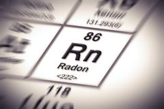 Radon gas - concept image with periodic table of the elements.  royalty free illustration
