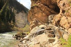 The radon hot spring near the Altyn Arashan resort near Karakol city, Kyrgyzstan Stock Photos
