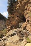 The radon hot spring near the Altyn Arashan resort near Karakol city, Kyrgyzstan Royalty Free Stock Photo