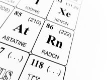 Radon on the periodic table of the elements Stock Photo
