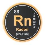 Radon Rn chemical element. 3D rendering. Isolated on white background stock illustration