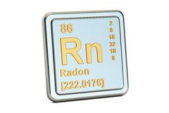 Radon Rn, chemical element sign. 3D rendering. Isolated on white background royalty free illustration