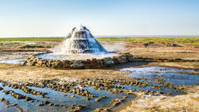 Radon springs at the bottom of the dried-up Aral Sea. On the dried-up bottom of the Aral Sea, a radon source was discovered. The Aral Sea was an endorheic lake Stock Photo