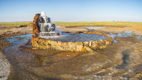 Radon springs at the bottom of the dried-up Aral Sea. Royalty Free Stock Photos