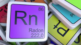 Radon Rn block on the pile of periodic table of the chemical elements blocks. 3D rendering Royalty Free Stock Photography