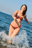 radosna bieg morza kobieta Obraz Stock