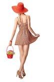 Radosna boho kobieta w sundress Zdjęcia Royalty Free