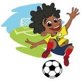 Radosna chłopiec bawić się futbol royalty ilustracja
