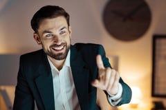 Radosna męska osoba bawić się z piłką Obraz Royalty Free