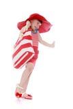 Radosna mała dziewczynka z torbą w ręce iść robić zakupy Fotografia Royalty Free