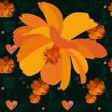 Radosny bezszwowy ornament z sercami, muzykalnymi symbolami, gwiazdami i pomarańczowymi kwiatami kosmos na ciemnym tle w wektorze ilustracji