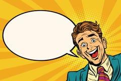 Radosny biznesmena zerkanie od kąta tło ilustracji