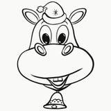 Radosny hipopotam w Bożenarodzeniowej nakrętce royalty ilustracja