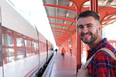 Radosny jawnego transportu pasażer z kopii przestrzenią fotografia royalty free