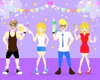 radosny mężczyzny i kobiety mienia alkohol tak jak piwna butelka, wino, koktajl, szampański taniec w świętowania życia nocnego pr ilustracji