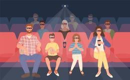 Radosny rodzinny obsiadanie w stereoskopowym kinie lub kino sala Matka, ojciec i ich dzieci w 3d szkłach, ilustracja wektor