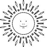 Radosny słońca mandala ilustracja wektor