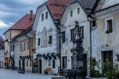 Radoveljica town, Slovenia. Radoveljica is a town in the Upper Carniola region of northern Slovenia. In the shot: Typical buildings in the old town Stock Photography