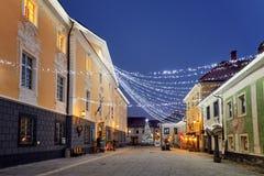 RADOVLJICA, ESLOVENIA - 20 DE DICIEMBRE DE 2017: noche de diciembre del advenimiento Fotos de archivo