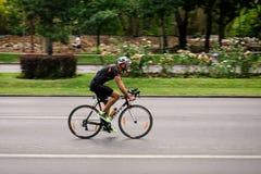Radrennfahrer auf der Straße, verschiebend Lizenzfreies Stockfoto