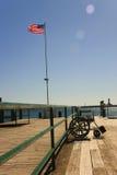 Radstuhl auf Dock Stockfoto