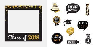 Raduation party vector design elements and photo booth props. Vector illustration royalty free illustration