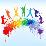 Raduga. Colorful bright ink splashes and kids jumping on blue background vector illustration