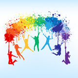 Raduga. Colorful bright ink splashes and kids jumping on blue background royalty free illustration