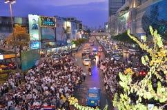 Raduni tailandesi contro la fattura di amnistia Immagine Stock