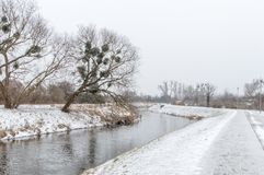 Radunia river in winter time. Radunia river in winter time in Pruszcz Gdanski Royalty Free Stock Images
