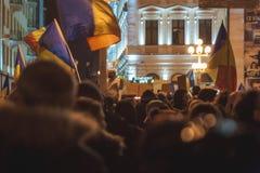 Raduno dei rumeni nella più grande protesta anticorruzione Immagini Stock Libere da Diritti