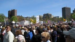 Raduno del partito di tè sul terreno comunale di Boston Immagine Stock Libera da Diritti
