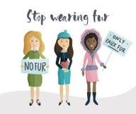 Raduno di voto della donna contro l'uso della pelliccia naturale royalty illustrazione gratis