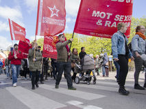 Raduno internazionale di giorno dei lavoratori a Stoccolma Fotografia Stock Libera da Diritti