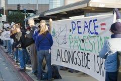 Raduno Palestinese-Israeliano di protesta di conflitto nel Los Fotografie Stock