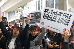 Raduno per giustizia per Erwiana in Hong Kong Immagini Stock Libere da Diritti