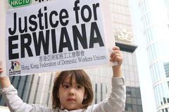 Raduno per giustizia per Erwiana in Hong Kong Fotografia Stock Libera da Diritti