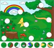 Radura con un troncone, fragole, farfalla, alberi, rainbo della foresta illustrazione vettoriale