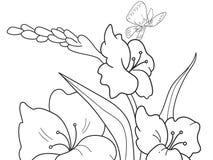 Radura del fumetto della coloritura dei bambini con i fiori in natura royalty illustrazione gratis
