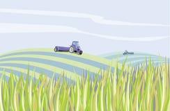 Radura dell'azienda agricola di paesaggio illustrazione vettoriale